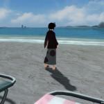 浴衣で海岸拠点